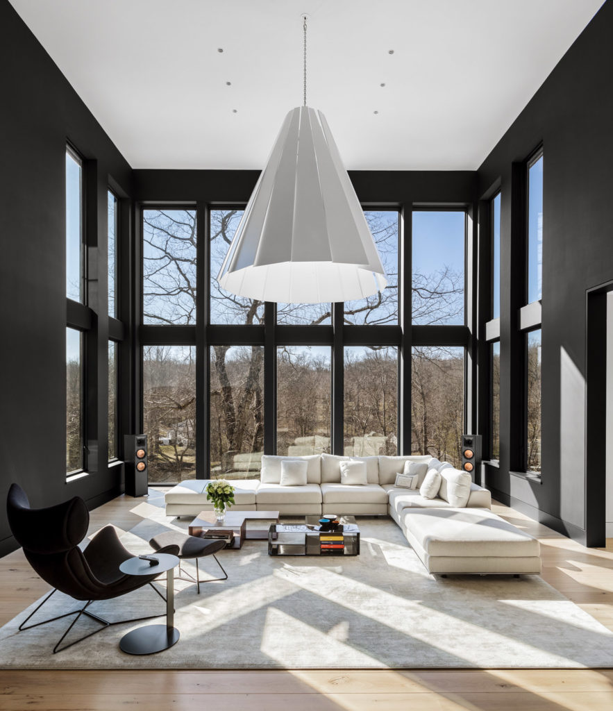 Architectural Interior Photography Of Living Room With Tall Wals