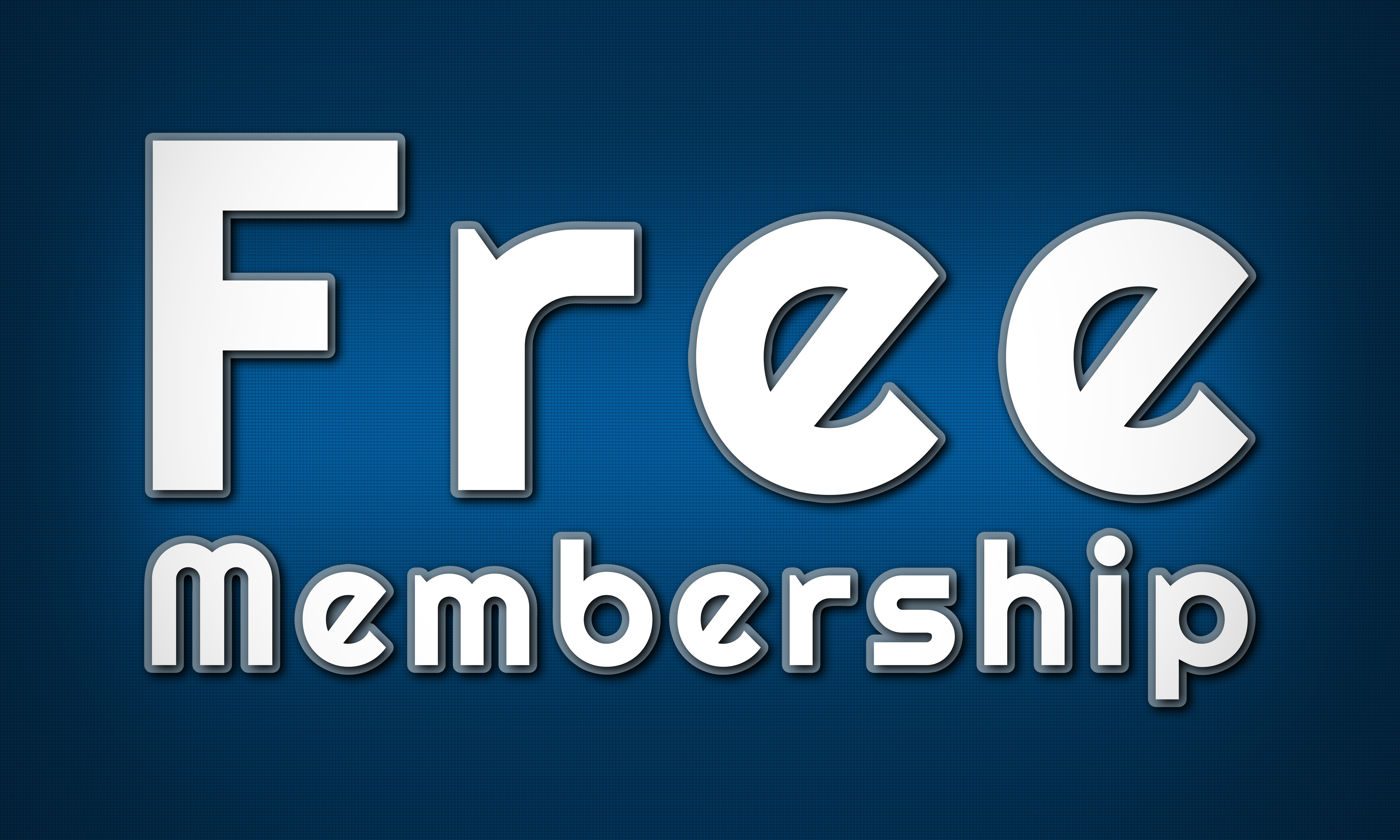 Free Membership Clear White Text Written On Blue Background
