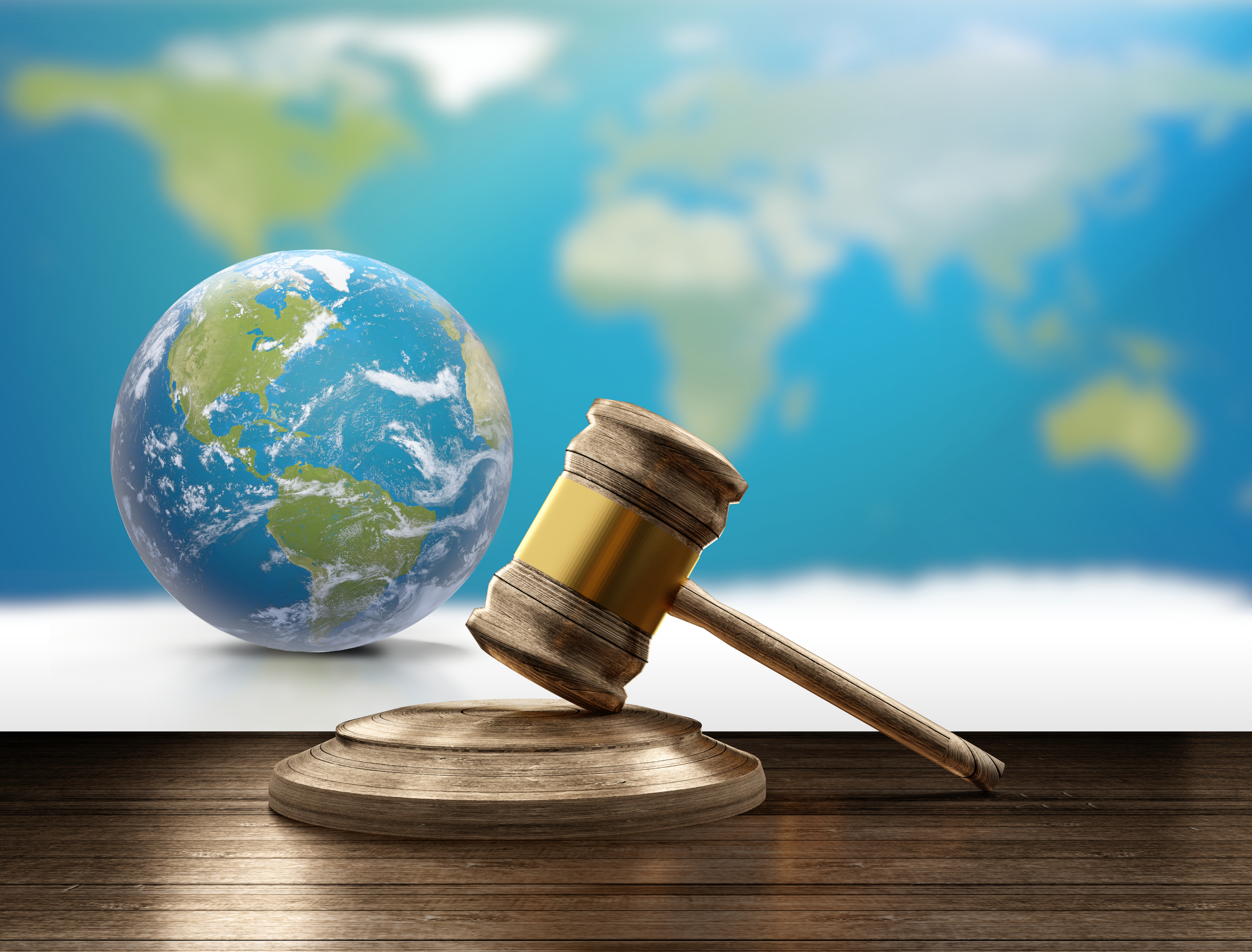 World Map Planet Earth Globe And Wooden Judge Gavel 3d Illustration