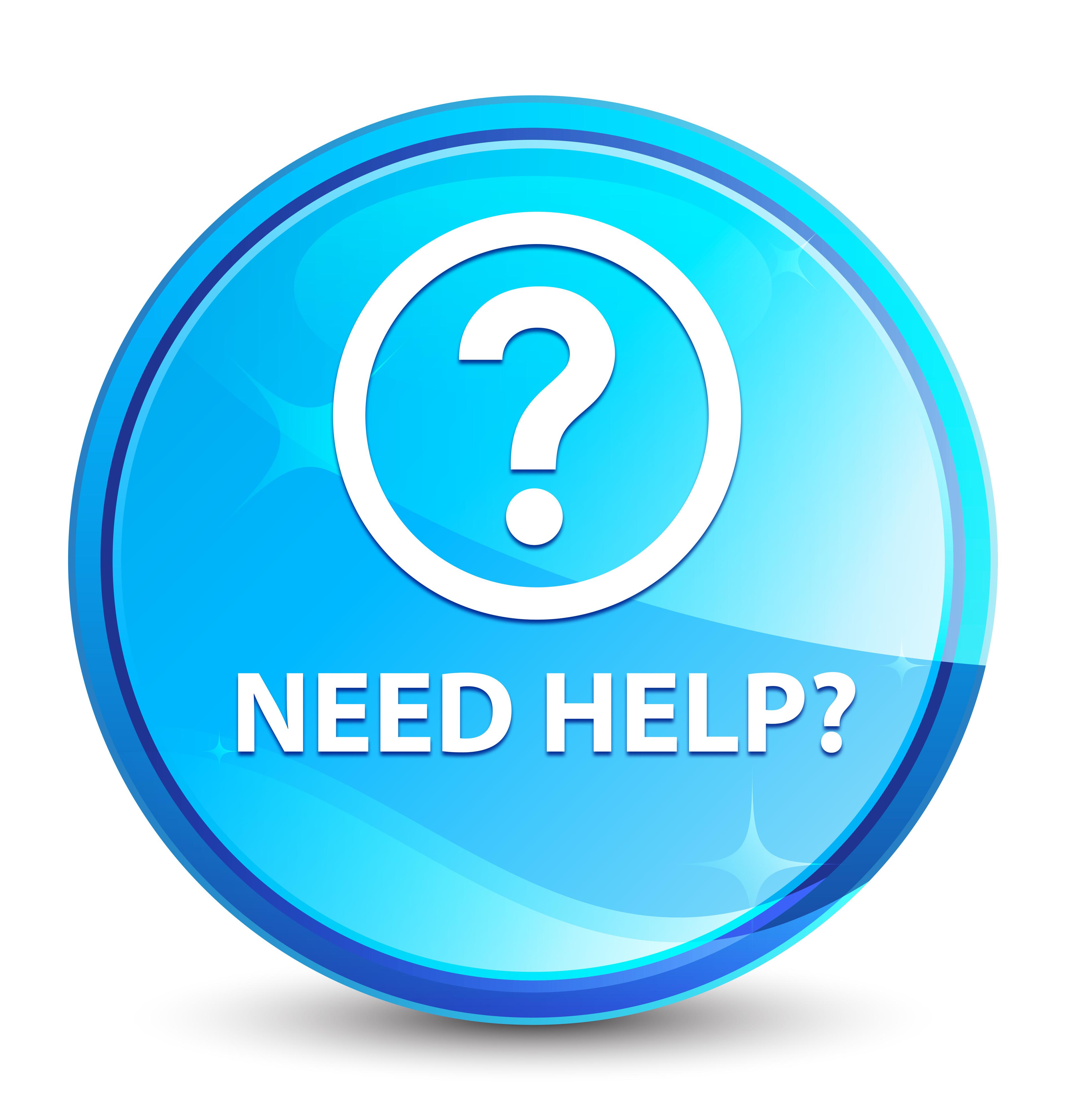 Need Help (question Icon) Splash Natural Blue Round Button